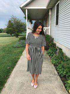 5f95d042e3229 Black Striped Dress 6 Ways. Stripe SkirtStriped DressMidi Dress With  SleevesStaple PiecesMom OutfitsBlack StripesMom StyleFlip FlopsPersonal  Style