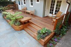 Redwood decking-benches and planters -- good idea for transitioning smoothly to patio flooring Small Backyard Decks, Decks And Porches, Backyard Patio, Backyard Landscaping, Small Backyards, Deck Planter Boxes, Deck Planters, Planter Ideas, Deck Ideas With Planters