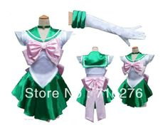 New Anime Pretty Soldier Sailor Moon Sailor Jupiter Japanese Anime Cosplay Costume female  party Any Size US $39.99