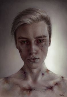 Elena Sai (Elena Zaitseva) is a talented digital artist from Kiev, Ukraine. In each portrait Elena combines realism with creepy features and makes a… Art Sinistre, Character Inspiration, Character Art, L'art Du Portrait, A Level Art, Creepy Art, Horror Art, Surreal Art, Fantasy Characters