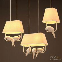 Loft Americano Arte pájaro colgar luces colgantes restaurante bar dormitorio living luces lámpara de pantalla de tela de comedor de hierro forjado(China (Mainland))