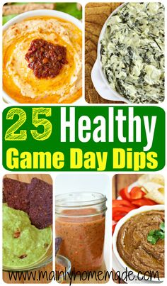 25 Healthy Party Dips for Game day. Eat these Football snacks first to stay on track for the Big Game! Bring these to the party, so you know you have something good to munch on.