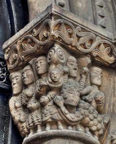 Lapidación de San Esteban - Capitel de la iglesia de Ciaño, Asturias