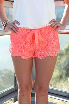 Summer, beach, coral lace shorts, spring