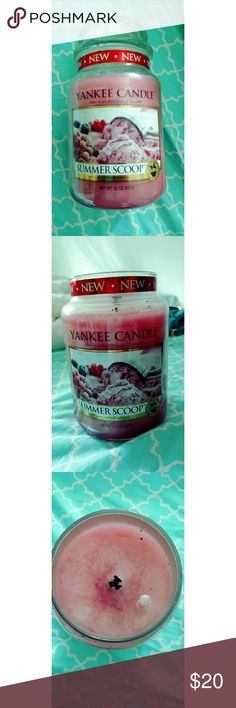 Yankee Candle Summer Scoop Limited Edition Lit once. The scent of fresh strawberries and cream are embodied in this fragrance. There is no cloying fake sweetness. It makes my mouth water every time thinking of a scoop of fresh strawberry ice cream. Burns up to 150 hours Yankee Candle  Other
