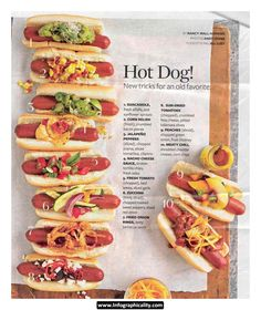 HOTDOG TOPPINGS – with grilling season well underway, think outside the bun when it comes to what's going inside the bun!