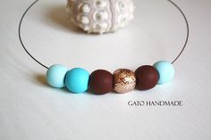 Unique handmade turquoise necklace/Cyrated with by GATODesign