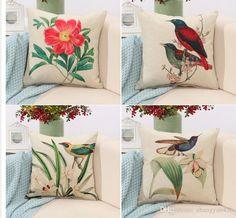 RUBIHOME Aves Print Cushions No interior Diseño Flor Poliéster Home Decor Sofá Asiento de coche Decorative Throw Pillow Capa De Cojines