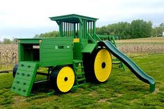 Green Tractor Swing Set More