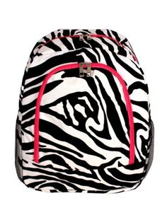 $13.75 Zebra Large Backpack with Hot Pink Trim