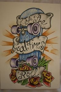 Let the good times roll, sweet skateboard tattoo Skateboard Tattoo, Skate Tattoo, Skateboard Design, Skateboard Art, Graffiti, Skate Art, Flash Art, Life Tattoos, Tatoos