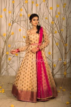 Gowns and dress ideas from old sarees - Simple Craft Ideas - spectaculargoods Lehenga Designs, Salwar Designs, Half Saree Designs, Fancy Blouse Designs, Kurti Designs Party Wear, Dress Neck Designs, Indian Anarkali Dresses, Kalamkari Dresses, Half Saree Lehenga