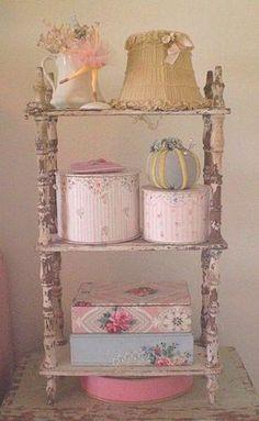 A very shabby shelf stand with pretty stuff