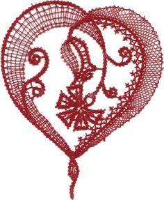 srce in nagelj Needle Lace, Bobbin Lace, Mantel Redondo, Lace Heart, Lace Making, Knit Or Crochet, Spiral, Tatting, Cross Stitch