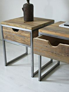 Industrial Bedside Table, Wood and Steel Nightstand: Rustic Reclaimed Barn Wood, Rustic And Industrial Reclaimed Barn Wood Furniture Industrielle Nachttisch Holz und Stahl Nachttisch: rustikal Industrial Design Furniture, Rustic Furniture, Vintage Furniture, Furniture Design, Furniture Ideas, Bedroom Furniture, Cabin Furniture, Western Furniture, Furniture Stores