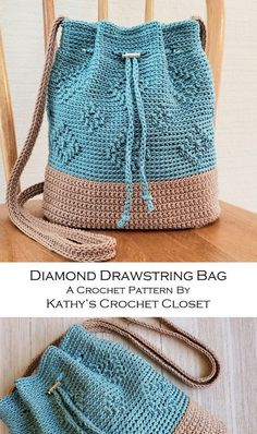 Crochet PATTERN Diamond Drawstring Bag DIY Crossbody Bag - Knitting Crochet ideas Crochet PATTERN Diamond Drawstring Bag DIY Crossbody Bag Always wanted to be able to knit, nonetheless undecided where d. Diy Crochet Purse, Crochet Purses, Crochet Handbags, Knit Crochet, Crochet Bags, Free Crochet Bag, Crochet Drawstring Bag, Drawstring Bag Pattern, Crochet Backpack Pattern