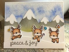 Mama Elephant Reindeer Games, Snow Capped Mountains, Lawn Fawn Stitched Hillsides