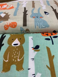 """New! 56"""" 100% Cotton in a woodland animal theme. At 56"""" this is wider than the normal 45"""" cotton. 🦊 🐻 🐰 🌳 Shop Mook Fabrics fabric store in Medicine Hat Alberta, Winnipeg Manitoba and Leola Pennsylvania for your new favorite fabrics for all your DIY creations! #sew #quilt #quilting #sewing #create #fabricstore #fabrics #projects #DIY #DIYprojects #homedecor #mommylife #ilovetosew #sewist #sewinginspiration #sewingaddict #easysewingideas #mookfabrics #mookmoment #wpgnow Woodland Animals Theme, Pennsylvania, Medicine, Quilting, Fabrics, Diy Projects, Kids Rugs, Sewing, Create"""