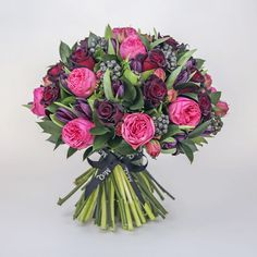 The McQueens 'Crazy in Love' Valentine's bouquet. Created with pale pink and black baccara roses; the very essence of romance. Valentine Bouquet, Valentines Flowers, Valentine Nails, Valentine Ideas, Black Baccara Roses, Red Roses, Wedding Flower Arrangements, Wedding Bouquets, Bunch Of Flowers