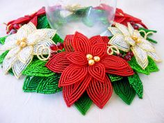 French Beaded Flower Red and White Poinsettia by LaurenHCreations