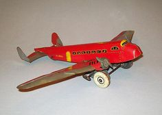 """Great Old Antique Vtg 1950's Large 18"""" Marx TWA US Mail Tin Wind Up Toy Airplane"""