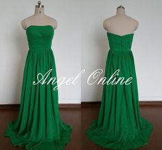 Green Prom Dress.Long Prom Dress.Prom Dress 2015.Chiffon Prom Dress.Elegant Evening Dress.Formal Dress.Party Dress.Green Bridesmaid Dress