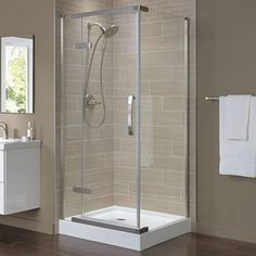 How to choose the right bathroom showers? Showers & Shower Doors - The Home Depot Corner Shower Stalls, Corner Shower Kits, Shower Alcove, Bathroom Shower Doors, Small Bathroom With Shower, Frameless Shower Enclosures, Tub Enclosures, Concrete Shower, Cement