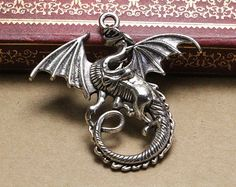 10pcs antique silver flying dragon pendant charms,commercial findings charm,jewelry making supplies,47*43mm