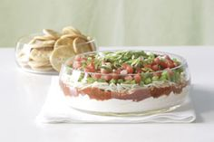 Festive Layered Dip tub g) Philadelphia Cream Cheese Spread cup sour cream cup Miracle Whip Original Spread 1 cup salsa 2 cups Kraft Mozzarella Shredded Cheese 2 tomatoes, chopped 1 green pepper, finely chopped 2 green onions, chopped) dip recipes Kraft Recipes, Dip Recipes, Cooking Recipes, Recipies, What's Cooking, Cooking Ideas, Salad Recipes, Appetizer Dips, Appetizer Recipes