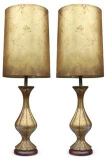 Long neck italian opaline lamps pair ideas for nanas gang a pair of gold leaf regency style asian influenced table lamps with original gold leaf shades wired and working up to bulbs aloadofball