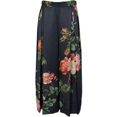 Vivienne Westwood Red Carpet Floral Slik Satin Palazzo Trousers (6.260 RON) ❤ liked on Polyvore featuring pants, black satin pants, black pants, floral-print pants, pleated palazzo pants i summer pants
