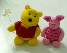 Winnie the Pooh and Piglet fondant cake topper