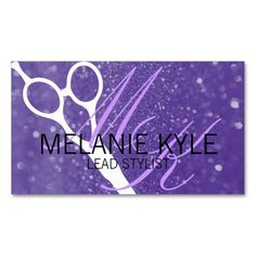 Chic Glitter Hair Stylist Scissors Business Cards. This is a fully customizable business card and available on several paper types for your needs. You can upload your own image or use the image as is. Just click this template to get started!