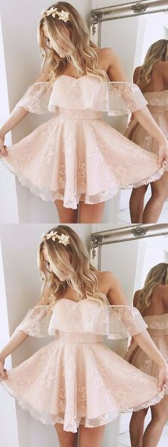 Lace Homecoming Dress,A-Line Off-the-Shoulder Short Homecoming Dresses,Pearl Pink Lace Short Prom Dress,Party Dress