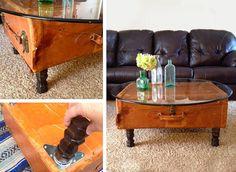 Tavolino da caffè creato con il riciclo valigie vintage #DIY #suitcase #vintage…
