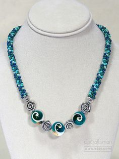 Aqua/Cream Shell Necklace Aqua Kumihimo Necklace by dlpCraftsman