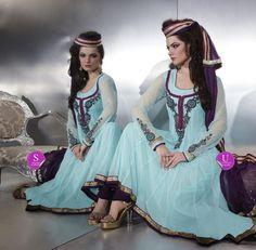 $89.93 Blue Full Sleeve Net Long Anarkali Salwar Kameez 20504