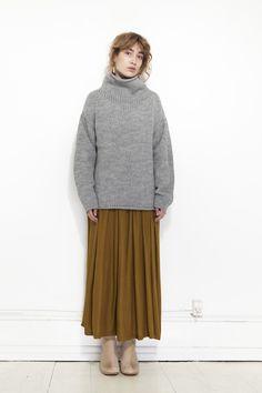 MICAELA GREG, Funnel Neck Sweater, Melange Grey | Mr. Larkin