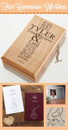 These personalized First Communion Gifts Ideas are beautiful! They're great First Communion ideas for boys and girls!