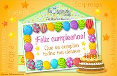 Tarjeta de cumpleaños con guarda de globos - Sobres sorpresa, enviar tarjeta, tarjetas postales virtuales - TuParada.com