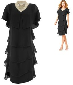 14 Large XL SEXY Womens LITTLE BLACK TIERED DRESS Day/Evening Special Occasion #Scarlett #Tiered #SpecialOccasion