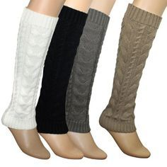 Cable Knit Trimmed Classic Boot Shaft Style Soft Acrylic Leg Warmer - Various Colors