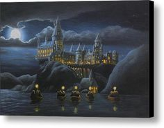 Hogwarts At Night Canvas Print / Canvas Art By Karen Coombes