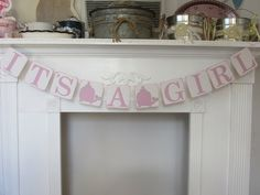 "Baby Shower Banner ""It's A Girl"" Shower Banner Pink Whale Baby Shower Banne by ItzMyParty on Etsy"