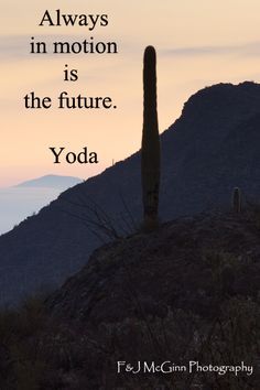 """""""Always in motion is the future.""""  -- Yoda – On image of sunrise at Gates Pass, Tucson, Arizona, taken by Florence McGinn – Explore quotes on life's journey at http://www.examiner.com/article/travel-a-road-of-literate-quotes-about-the-journey"""