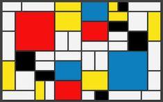 1941. Piet Mondrian néo plasticisme il n'y a ni courbes ni obliques mais que des traits verticaux ou horizontaux les couleurs sont des couleurs pures uniquement : bleu, rouge et jaune (Mondrian ne parle pas de couleurs primaires : bleu différent du cyan, et rouge différent du magenta), et les non-couleurs : le gris, le noir et le blanc.