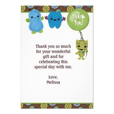 "Peek a Boo MONSTERS Thank You 3.5""x5"" PABC (FLAT) Invites"