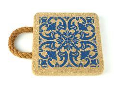 Cork Trivet Portuguese Tile Printing