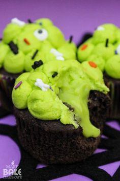 Ooey Gooey Slime Filled Cupcakes! @MakeBakeCelebrate