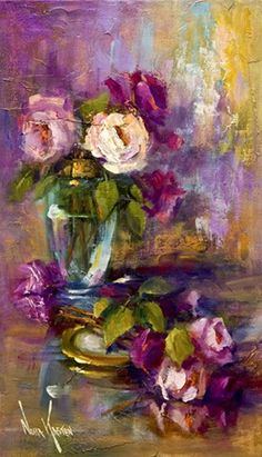"""I am not really quite sure where to pin this, but since it is a painting, I suppose it might go in the home. Oil painting """"A Jar Of Roses"""" 20 x 12 inches by Artist NORA KASTEN Art Oil, Artist Painting, Flower Painting, Art Painting, Fine Art, Floral Art, Painting Inspiration, Painting, Beautiful Paintings"""
